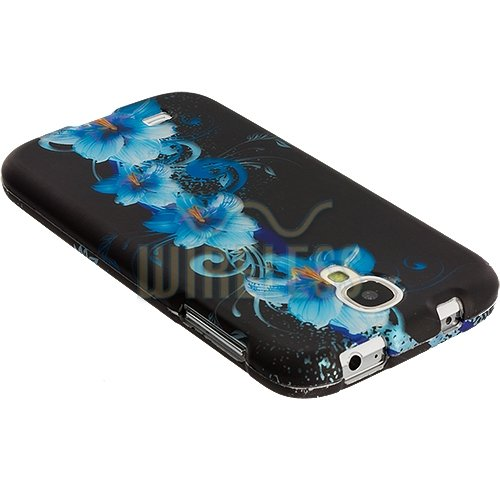 """myLife Hawaiian Tropical Blue Flowers Series (2 Piece Snap On) Hardshell Plates Case for the Samsung Galaxy S4 """"Fits Models: I9500, I9505, SPH-L720, Galaxy S IV, SGH-I337, SCH-I545, SGH-M919, SCH-R970 and Galaxy S4 LTE-A Touch Phone"""" (Clip Fitted Front and Back Solid Cover Case + Rubberized Tough Armor Skin)"""