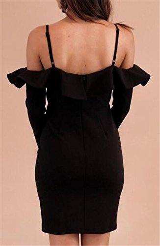 Cromoncent Moulante Pour Femmes Ébouriffé Mince Hors Épaule Couleur Pure Robes Midi Noir