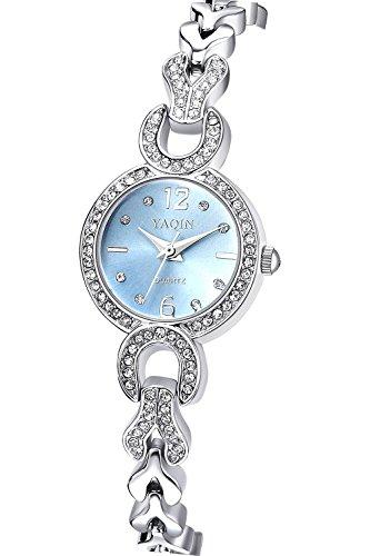 Inwet Strass Armbanduhr für Damen,Blau Zifferblatt Analoge Anzeigen,Edelstahl Armband
