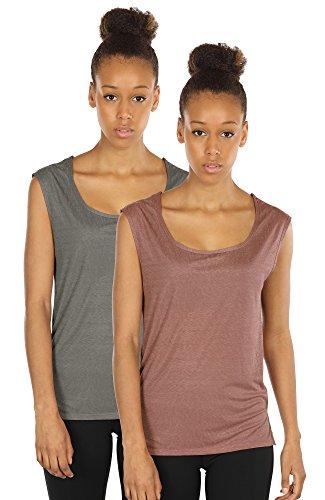 icyzone Yoga Tops Activewear Sleeveless Workout Running Shirts Flowy Tank Tops for Women(XL,Grey/Mocha)