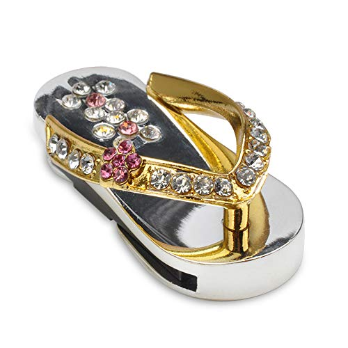 Betionol Glass Slipper Design 32GB USB 2.0 Flash Drive,Metal Creative Personality Cartoon Cute Mobile USB Flash Drive (Golden)