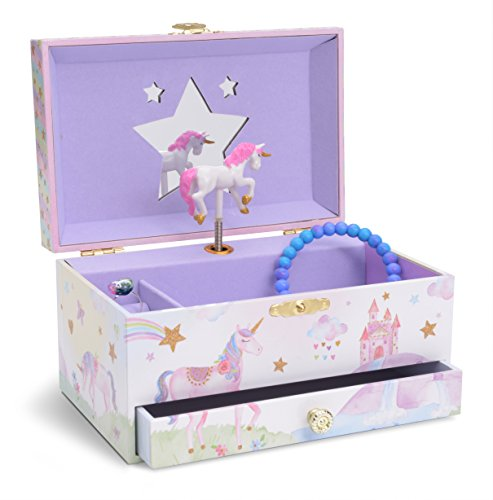 JewelKeeper Girl's Musical Jewelry Storage Box with Pullout Drawer, Glitter Rainbow and Stars Unicorn Design, The Unicorn Tune -