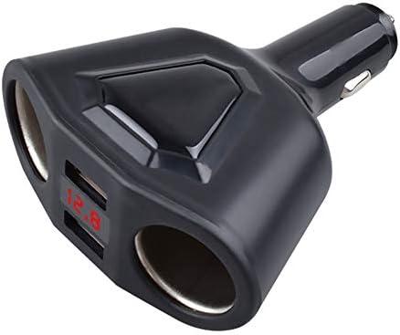 デュアルUSBトラベル車の充電器、LEDディスプレイ多機能のシガーライター、3.1A急速充電,黒