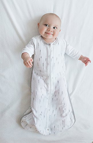 Amazing Baby Sleeping Sack with 2-Way Zipper, Cotton Muslin, Trees, Sterling, Small