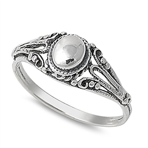 Victorian Style Filigree Oxidized Oval Ring .925 Sterling Silver Band Size (Victorian Silver Filigree)
