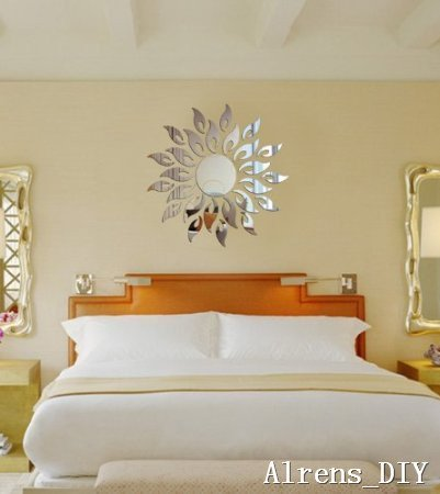 Alrens_DIY(TM) Sun Sunshine Spark Fire Round Flower Crystal Reflective DIY Mirror Effect 3D Wall Stickers Home Decoration Decor Mural Decal adesivo de parede Removable