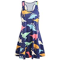 Women's Cute Dino Print Dress, E-Scenery Casual Sleeveless Dinosaur Printed Tunic Tank Dresses