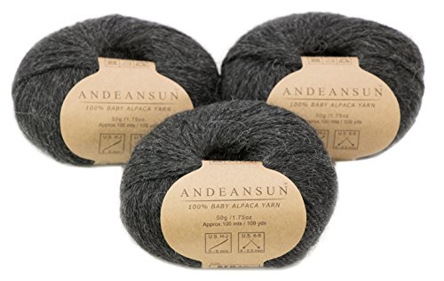 n Skeins #4 Worsted, Afghan, Aran - Set of 3 (Charcoal) - AndeanSun - Luxuriously Soft for Knitting, Crocheting - Great for Baby Garments, Scarves, and Hats - Charcoal ()