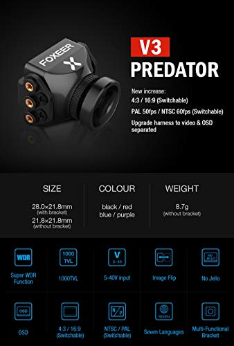 Studyset Foxeer Predator V3 Racing All Weather Camera 16:9/4:3 PAL/NTSC switchable Super WDR OSD 4ms Latency Remote Control Purple 2.5MM by Studyset (Image #3)