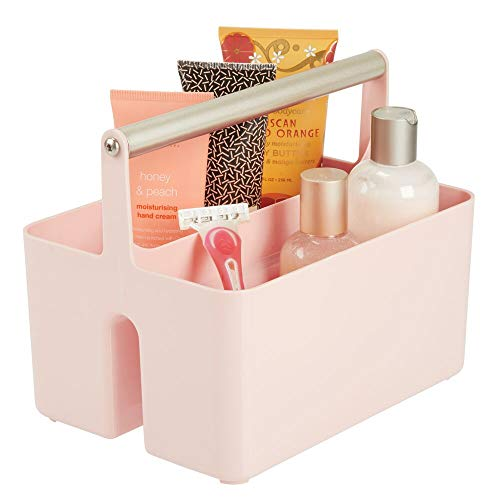 mDesign Plastic Portable Storage Organizer Utility Caddy Tote, Divided Basket Bin - Metal Handle for Bathroom, Dorm, Holds Hand Soap, Body Wash, Shampoo, Conditioner, Lotion - Light Pink