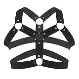 IEFIEL Men Nylon Halter Neck Elastic Body Chest Harness Costume Belt (One Size, Black F)