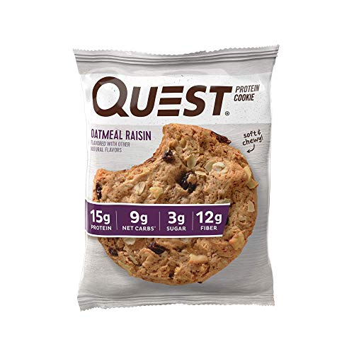Quest Nutrition Oatmeal Raisin Protein Cookie, High Protein, Low Carb, Gluten Free, Soy Free, 12 Count