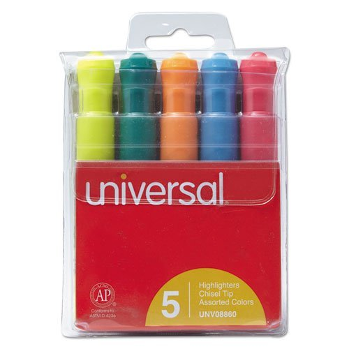 Highlighter Five Color Set Fluorescent - Universal Products - Universal - Desk Highlighter, Chisel Tip, Fluorescent Colors, 5/Set - Sold As 1 Set - Well-designed highlighter features bright colors and wide barrel. - Chisel tip allows for both broad and narrow lines. -