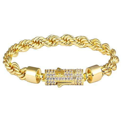 KRKC&CO 14k Gold Rope Bracelet, 6mm Rope Bracelet, Solid No Tarnish BraceletDurable Urban Street-wear Hip Hop Jewelry Size 7, 8, 9 for Men & Women ()