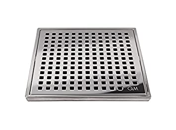 QM Square Shower Drain, Grate Made Of Stainless Steel Marine 316 And Base  Made Of