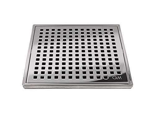 QM Square Shower Drain, Grate made of Stainless Steel Marine 316 and Base made of ABS, Lagos Series Mira Line, 4 inch, Polished Finish, Kit includes Hair Trap/Strainer and (Polished Floor Tiles)