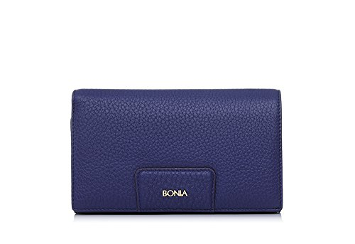 bonia-womans-navy-milled-functional-flap-purse