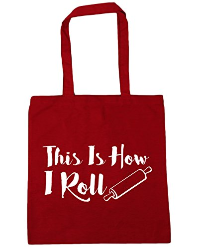 HippoWarehouse THIS IS How I Roll Tote Compras Bolsa de playa 42 cm x38 cm, 10 litros Classic Red