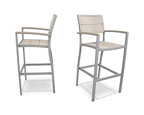 Trex Outdoor Furniture Surf City 2-Piece Bar Chair Set in Textured Silver / Sand (2 Surf Net)