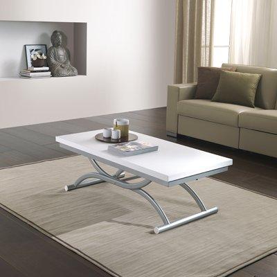 Co-Ala tavolino bianco venato rettangolare trasformabile in tavolo ...