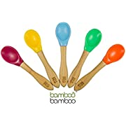 Bamboo Bamboo Baby Feeding Spoons with Soft Curved Silicone Bowl Tips (5 Pack, Multi Pack Blue)