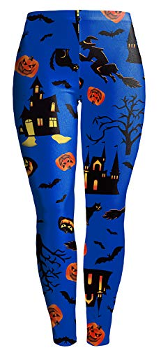 Sister Amy Women's Halloween Skull Pumpkin Skulls Printed Ankle Elastic Tights Legging P-Blue Halloween US M -
