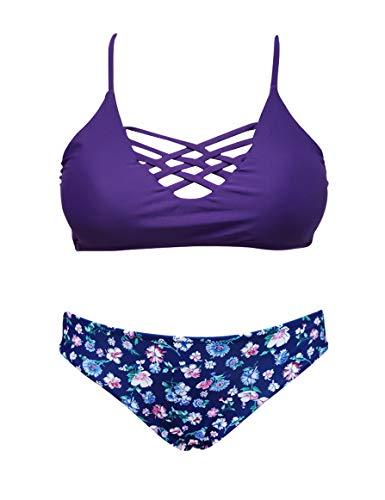 - SHEKINI Women's Floral Print Swim Bottom Cutout Spaghetti Strap Halter Top Two Piece Strappy Bikini Swimsuit (Medium/(US 8-10), Lavender Purple)