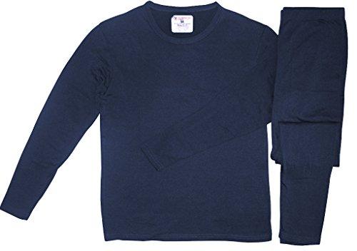 Therma Tek Men's Ultra-Soft Tagless Fleece Lined Thermal Top & Bottom Underwear Set, Navy, Medium (Blue Underwear Thermal)