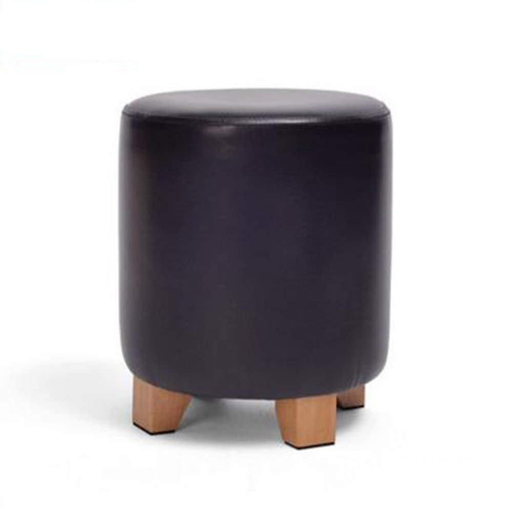 Large - Black Ronggoutrade shoes Bench Round Pier Stool Sofa Stool Dressing Stool PU Leather Stool (color   Large - Black)