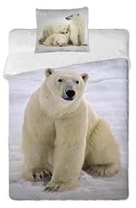 Jerry Fabrics JF0055 - Juego de funda nórdica y funda de almohada (140 x 200 cm y 70 x 90 cm respectivamente, 100% algodón), diseño de oso polar