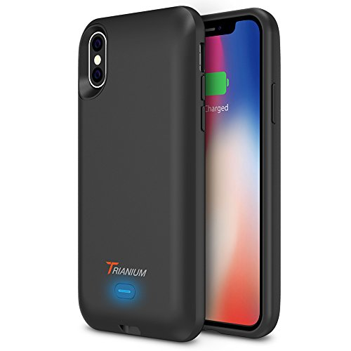 iPhone X Battery Case with Qi Wireless Charging, Trianium 3000mAh [Black] Rechargeable Juice Power Charger Battery Case for iPhone X 10 [Apple Certified Part/Not Support with Wireless Charging Pad] by Trianium