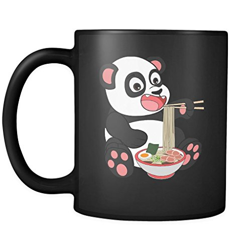 Japanese Panda Ramen - Weeaboo Otaku 11oz Funny Black Coffee Mug - Japanese Kawaii Manga Anime Konnichiwa Senpai - Women Men Friends Gift - Both Sides Printed (Distressed) by Robust Creative Weeaboo Otaku