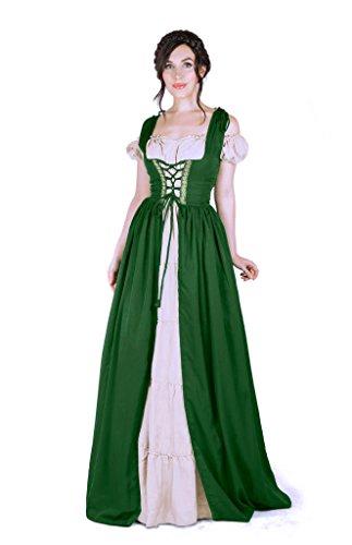 [Renaissance Medieval Irish Costume Over Dress & White Boho Chemise Set … (L/XL, Hunter Green)] (Irish Chemise)