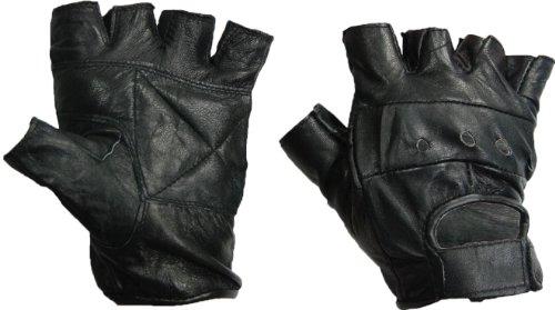 Glove Guys All-Leather Half Finger Gloves (Black, X-Large)