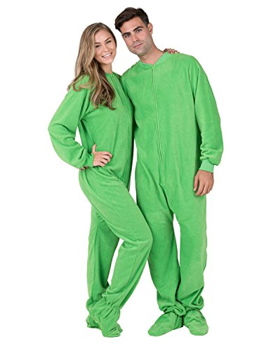 7a765395600f Footed Pajamas - Emerald Green Adult Fleece Onesie - Buy Online in ...