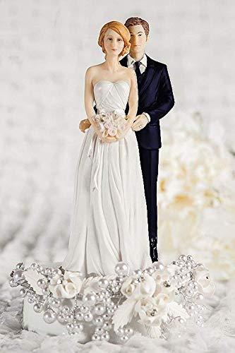 Rosa perla y de la novia Novio boda decoración para tarta para ...