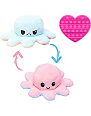 Octopus Plushie Reversible with Push Pop Bubble Toy - Cute and Soft Flippy Mood Octopus Plush Doll - Happy Sad Flip Octopus Plush - Pieuvre Peluche Reversible for Children