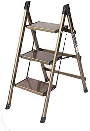 STOOL Sencillo Multifuncional Plegable Heces, Escalera de Mano Tres Escalera Móvil Escalera de Aluminio Grueso Del Hogar Portátil Escudo Escalera Portaescaleras Banco Flor Regalo Shelf,Oro,47.5 × 67: Amazon.es: Bricolaje y herramientas