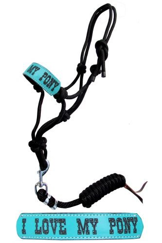Showman Pony Size Rope Halter w/ TURQUOISE Leather