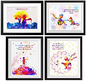 Uhomate 4 pcs Set The Little Prince Fox Le Petit Prince Little Prince Canvas Wall Art Baby Gift Inspirational Quotes Wall Decor