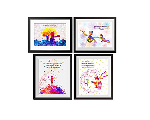 Little Prince Gift (Uhomate 4 pcs Set The Little Prince Fox Le Petit Prince Little Prince Canvas Wall Art Anniversary Gifts Baby Gift Inspirational Quotes Wall Decor for Living Room Wall Decorations for Bedroom M028)