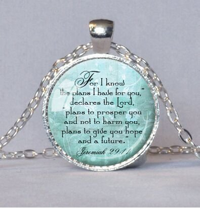JEREMIAH 29:11 CHRISTIAN PENDANT Scripture Jewelry Christian Gift for Christian Bible Verse Necklace Spiritual Quote Cream Inspirational