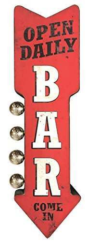 (Bar Open Daily Reproduction Vintage Advertising Sign - Battery Powered LED Lights, Double Sided Metal Wall Mounted - 25 x 8 x 4)