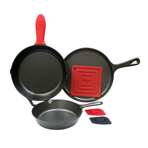 Lodge 6 Piece Seasoned Cast Iron Cookware and Accessories Set (Skillet Set) - Complete with Two Skillets, Griddle, Pot Holder, Hot Handle Holder, and Pan Scrapers (Made in USA)