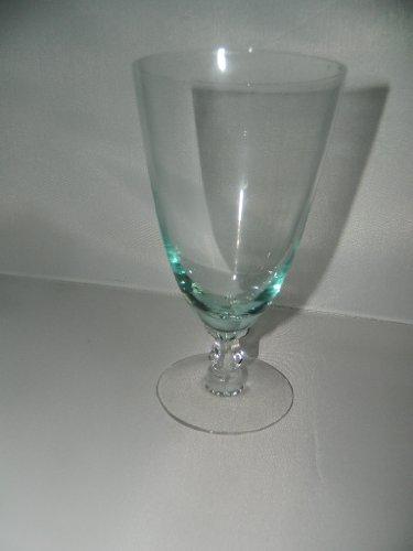 Fostoria Glass Water Wine Goblet Stemware - Green Bowl, clear stem