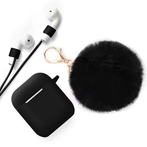 Xmifer AirPods Case, Cute Airpods Case Keychain Drop Proof (Silicone Skin and Cover for AirPods Charging Case 2/1) with Fluffy Fur Ball Keychain and Airpods Anti-Lost Strap for Airpods 2/1(Black)
