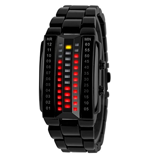 Gets Mens Binary Matrix LED Sport Watch Fashion Design Watch Stainless Steel Military Black - Watches Binary Men For