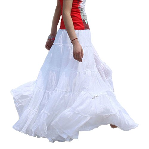 Vateno Gypsy Long Skirt for Women Pleated Boho Maxi Skirts Spain Belly Dance White Black Red Cotton
