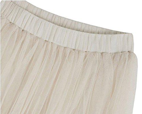 Mujer Falda de Fiesta Boda de Tul Cintura Elástica Plisada Larga Falda del Tutú Albaricoque