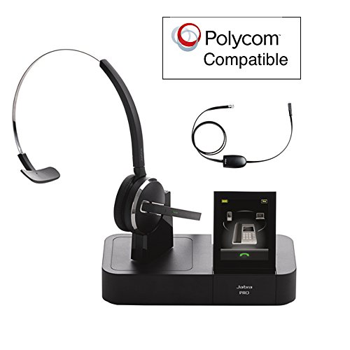 Polycom and Digium Phone Compatible Jabra PRO 9470 Bundle with EHS Remote Answering Adapter | Triple Usage - Desk/Mobile/PC | Records Calls